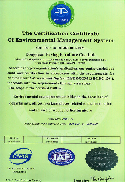 China Dongguan Fuxing Furniture Co., Ltd. Zertifizierungen